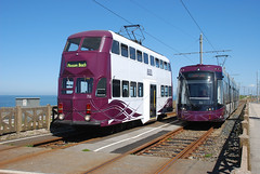 Blackpool Trams Balloon 711 and Flex 004 (Blackpool trams dalrigh) Tags: cabin balloon 711 trams blackpool 004 flexity