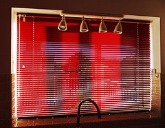 Window (Reinardina) Tags: red window kitchen view sunny blinds tap contrejour spotlights