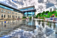 walking on water (Light Paintings by Dez) Tags: downtown guelph ontario outdoor canada colour design dez people hdr nikkor nikon nikond610 nikkor1424mm reflection architecture building blue summer streetphotography street sky