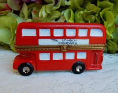 Limoges France Peint Main Porcelain Trinket Box ~ London Red Double Decker Bus (Donna's Collectables) Tags: limoges france peint main porcelain trinket box ~ london red double decker bus