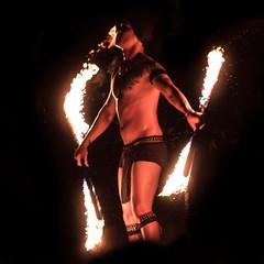 Fire eater (tik_tok) Tags: fire fireeater stunt danger heat hot singapore singaporezoo nightsafari asia man night