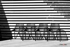 Barras y sillas (adrivallekas) Tags: chairs sillas blackandwhite bw blancoynegro byn bn black white wood madera blanco negro canon canoneos6d helsinki finland finlandia metal shadows sombras empty sit sitting