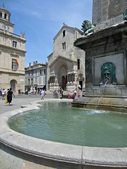 St. Trophime Church (AmyEAnderson) Tags: outdoor arles france provence bouchesdurhone unesco roman romanesque fountain church sttrophime water courtyard architecture