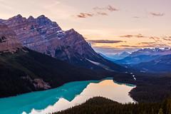 Peyto Lake at Sunset (Jared Richardson Photography) Tags: sunset alberta canada rocky mountains bowsummit peytolake onone dynamiccontrast lightroom hdr