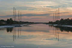 Sunset on the Ribble, Preston. 29th August 2016. (craigdouglassimpson) Tags: sunset reflections pylons water rivers sky colour riverribble preston lancashire england