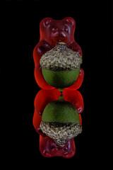 Gummy Bearing Gifts (KellarW) Tags: gummybear sweetspot reflection sweetshot blackacrylic gummybears macromondays redbear red mirrormirror acorn onblack sweetspotsquared mirror fall reflected mirrorred macromondaymacromondays hmm greenbear greenacorn acorngift