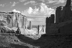 Park Avenue view bw (democritus21) Tags: archesnationalpark rockformations utah geology monochrome sandstone arches ut usa