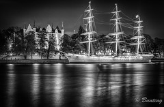 Skeppsholmen and 3-Masted Sailing Ship, af Chapman (stevebfotos) Tags: night sweden stockholm longexposure hdr stockholmslän se