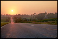 The Church of Krimulda (Reinis Crulis) Tags: sigulda krimulda church baznca sunrise fog mist orange latvia latvija landscape ainava road ce fujifilmxf1855mmf284rlmois fujifilm fujifilmxt1