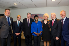 "Newseum President and CEO Jeffrey Herbst with the evening's ""Cronkite Century Celebration"" panelists."