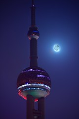 Shanghai - TV Tower and Moon (cnmark) Tags: china shanghai pearl orient pearloftheorient tv tower building night bright colored coloured light nacht nachtaufnahme noche nuit notte noite moon moonlight    allrightsreserved