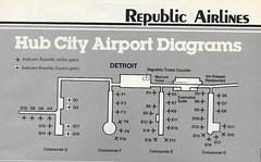 Republic Airlines Detroit diagram, 1986 (airbus777) Tags: republic airlines republicairlines dtw detroitmetropolitan airport 1986 terminal diagram map