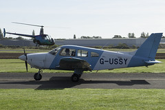11/09/16 - Piper PA-28-181 (Cherokee Archer II) - G-USSY (gbadger1) Tags: egbw wellesbourne mountford airfield matters september 2016 sunday 11 eleven eleventh piper pa 28 181 cherokee archer ii gussy robinson r22 beta gtosh r 22 heli air