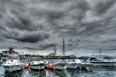 Made it to port. (Peapotty) Tags: 1650mm 3556 qx1 sony boat clouds dock port iwakunishi yamaguchiken japan