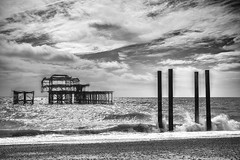 Mind The Gap! ;-) (Fourteenfoottiger) Tags: hove brighton westpier pier beach waves clouds sky sea monochrome blackandwhite wideangle contrast outdoors weather stormy wind windy