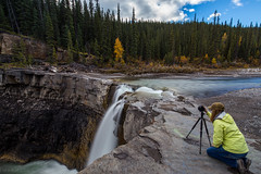 It's all in the timing... (Explored No.42, 6-Oct-2016) (Patstirling) Tags: canada alberta clearwater county river falls water rock outcrop ledge canyon stream creek sky clouds trees colors yellow green grey brown black conifers leaves landscape canon6d canon1635mmf4l wife trip travel world explore trunkroad offroad backcountry fall foothills mountains depth outdoor bighorn autumn crescent deep chasm mountain mountainside waterfall erosion ledges formations flow