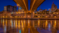 Wabasha street bridge (St. Paul) (Paul Domsten) Tags: stpaul minnesota pentax mississippi river bluehour mississippiriver bridge wabashastreetbridge reflections lights firstnationalbankbuilding
