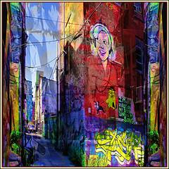 Art and Colour Lane: Walking the Dog (Tim Noonan) Tags: street city blue red urban toronto colour art texture yellow wall digital photoshop dark graffiti message expression spray edge lane layers strips mosca hypothetical crmedelacrme quadrado lavieenrose hiphopculture vividimagination essentialart artdigital shockofthenew innamoramento stickybeak sharingart awardtree thecubeexcellencygallery firstofall artfortheart davincimemories maxfudgeawardandexcellencegroup exoticimage richeyesgallery admintalkinternational netartii kreativepeople lartaucarr digitalartscenepro vividnationexcellencegroup stickymaximus