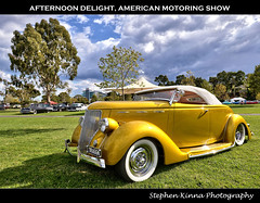 'Afternoon Delight' - American Motoring Show (Stephen Kinna Photography) Tags: show old storm hot classic cars ford car weather yellow club 1936 vintage gold golden photo nikon engine australia melbourne victoria chrome american april hotrod rod clubs chopped grille custom veteran racecourse insurance hdr highdynamicrange flemington shannons roadster kustom motoring 2013 aomc nikond600 photoengine draggn oloneo stephenkinna stephenkinnaphotography americanmotoringshow