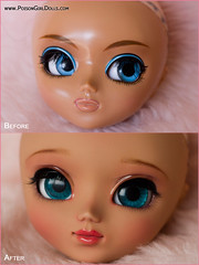 Before & After - Pullip Nahh-ato (-Poison Girl-) Tags: new pink blue girl closeup hair eyes doll long dolls waves julie eyelashes body stock bald makeup polka dot planning wi