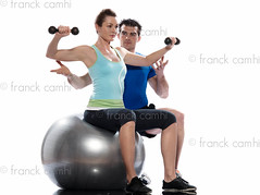 man aerobic trainer positioning woman  Workout (Franck Camhi) Tags: 2 two people woman white man france male sports girl female training pose person one coach sitting exercise profile fulllength couples bodybuilding whitebackground studioshot teaching posture weightlifting bodybuilder workout sideview fitness adults positioning position trainer weights aerobics pilates instructor caucasian dumbbells weighttraining personaltrainer exercising swissball fitnessball
