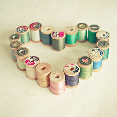 I Heart Sewing (_cassia_) Tags: green thread print photography grey purple pastel olive cotton romantic colourful etsy emerald mintgreen loveheart folksy rosepink cottonreels lolasroom ilovesewing woodencottonreels cassiabeck sewingphotograph
