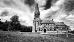 Long Exposure of St. Mary's Church near Fountains Abbey and Studley Royal in North Yorkshire, United Kingdom (Michael Mehl) Tags: longexposure england blackandwhite white black church monochrome abbey st geotagged blackw