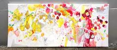 Mabuta no ushiro no yurikago (2013) oil on canvas, ink, charcoa, coloured pencil 1500x650x60mm