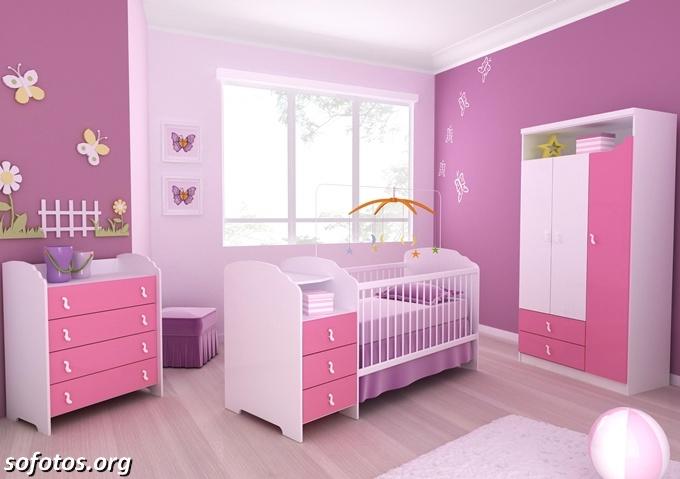 quarto de bebe feminino rosa