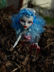 Monster High's Ghoulia Yelps (Fire Engine Red) Tags: brown canada nature garden toy spring doll zombie essexcounty deadleaves roots dirt leamington bluehair mattel southwesternontario femaledoll monsterhigh ghouliayelps