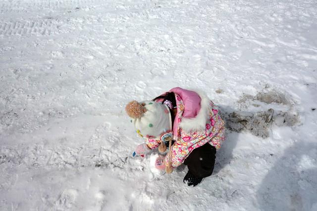無心に雪玉を作る娘。|キープファームショップ