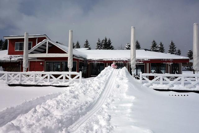 子供達は車からソリを持ってきて、例の手作り雪滑り台へ。|キープファームショップ