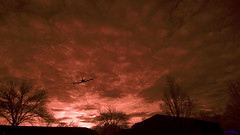 Plane Through Sky Inferno - As Is, No Mixed Channels Post Processing (Shedraway Photos) Tags: ohio sky skyline airplane ir infrared inferno charged shedraway