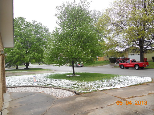 Snow fall in Springfield, Missouri on May 4, 2013