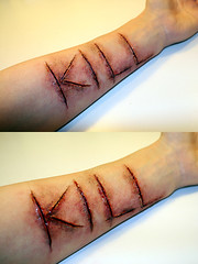 KILL (ross-sfx) Tags: kill arm skin makeup wound sangue sfx fakeblood trucco ferita effettispeciali
