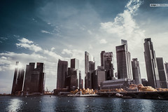 (d3sign) Tags: city sea sky cloud skyline skyscraper ir singapore cityscape infrared merlion