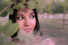 Ephie #4 (alexhalatsis) Tags: pink flowers autumn summer portrait woman flower green colors face grass daisies canon hair season spring eyes warm closed long purple happiness portraiture heat daisy catchy ef2470mmf28lusm 6d 2470