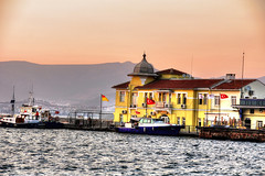 Izmire Water Police Station (Mark Alexander PhotoG) Tags: city sunset urban fish mountains water beauty port turkey boats dock islam ships romance greece seafood metropolis ottoman hdr mediterraneansea izmir turkia izmire markalexanderphotography