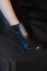 Modelling Footwear (Abitha_Arabella) Tags: black boot shoe veil rubber footwear