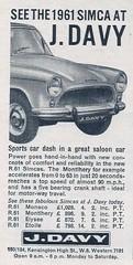 1961 SIMCA ADVERT J DAVY KENSINGTON HIGH STREET (Midlands Vehicle Photographer.) Tags: street j high advert kensington 1961 davy simca