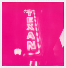 Magenta Texan Neon (tobysx70) Tags: street door toby cinema color film sign night project movie polaroid sx70 for theater downtown neon texas nocturnal theatre tx magenta illuminated special tip cameras lee 600 type lit rollers hancock limited edition slr680 greenville texan impossible the hancock 101814 frankenroid toby polawalk impossaroid polawalktx magentatype