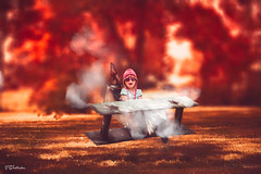 Ups!!! Going down !!! (salas-3) Tags: art creation fine manipulating fire airplane paperbox girl smoke nikon one me red fall funny story tellingstory photography fineart flight people war homemade