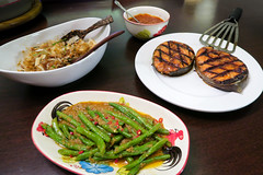Grilled Sambal Salmon Steaks, Spicy Long Beans and Pomelo Salad (Yum Som Oh) (hathaway_m) Tags: food beans singapore bangkok salmon sambal pomelo dinnerdiva naturalville