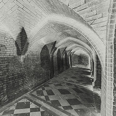 Ghostly brick arches and vaulted ceilings (fstop186) Tags: brick arches vaulted ceilings vaults victorian ghostly spooky paranormal ghosts history blackandwhite black white