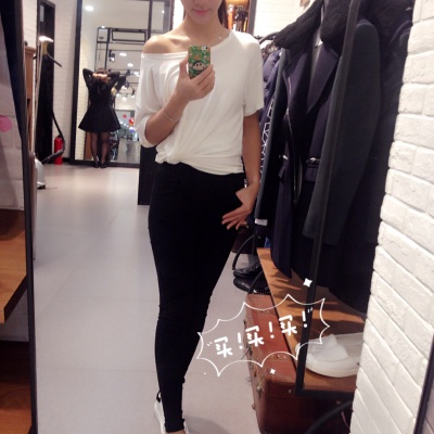 Sexy Korea modal t-shirt women size Word loose shoulder-shoulder jackets wild casual strapless short sleeve