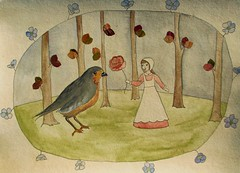 Samantha and the Autumn Bird (Fauna Finds Flora) Tags: story fairytale bird leaves flower trees forest tree woods leaf autumn flora purple red orange green gray tan girl narrative nature folkloric folk art illustration faunafindsflora