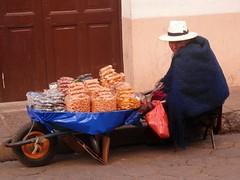 Vendedora de Potos (magellano) Tags: vendedora strada street callle carriola donna woman mujer cappello hat bolivia seller potos candid people sitting seated sit