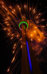 Happy 10 Year Flickr-versery To Me! (A Great Capture) Tags: celebrating celebration cntower anniversary flickranniversary since2006 10years agreatcapture agc wwwagreatcapturecom adjm toronto on ontario canada canadian photographer northamericaash2276 ashleylduffus ald mobilejay jamesmitchell summer summertime 2016 city downtown lights urban night dark nighttime cityscape urbanscapeeos digital colours colors fireworks green blue bright light orange gold street streetphotography