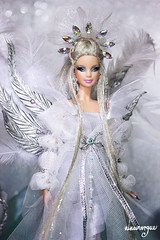 Crystal Angel OOAK doll (Ninamorgue) Tags: barbie barbielook ooak doll mueca angel crystal barbiecollector collector mattel gown iridescent silver glitter wings rhinestones one kind