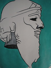 Head of Sargon (JeremiahGC) Tags: mesopotamia middleeast ancienthistory sumer art sculpture acrylic watercolorportrait contourdrawing